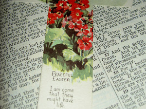 Easter bookmark on Bible
